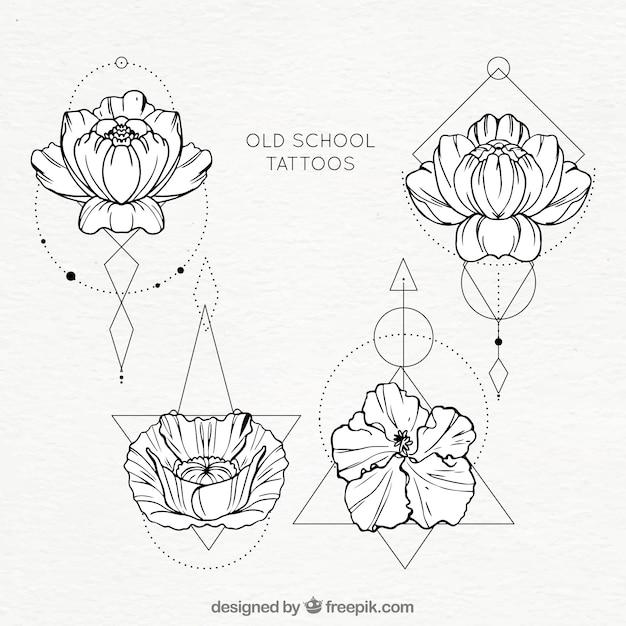 Blumen mit geometrischen formen tattoo-sammlung Kostenlosen Vektoren