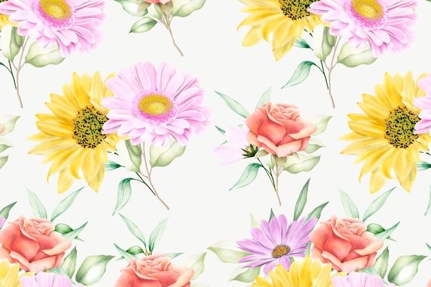 Blumen nahtloses muster blumenblüte Premium Vektoren