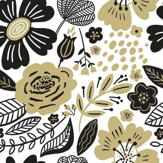 Blumen nahtloses muster gold und schwarze farben. flache blüten, blütenblätter, blätter mit und kritzeleien. botanischer hintergrund im collagenstil für textilien und oberflächen. ausschnitt papier design. Premium Vektoren