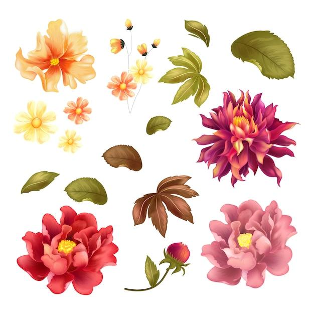 Blumen-paket-vektor-farbschablone Premium Vektoren