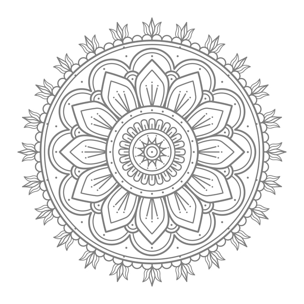Blumen runde ornament mandala illustration für die dekoration Premium Vektoren