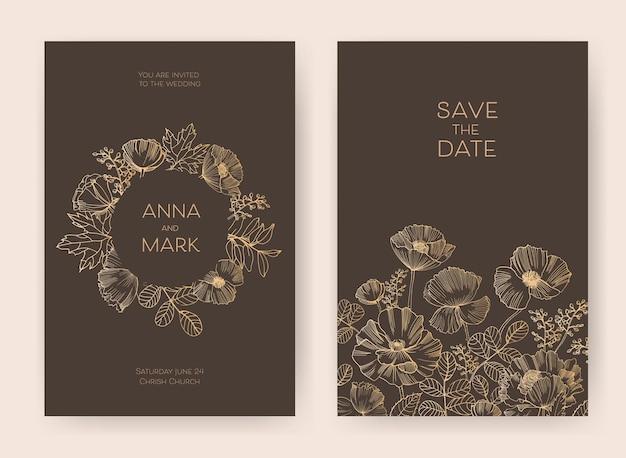 Blumen speichern sie die datumskarte und hochzeitseinladungsschablonen mit blühenden gartenblumen Premium Vektoren