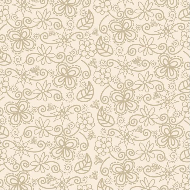 Blumen über beige hintergrundmuster-vektorillustration Premium Vektoren