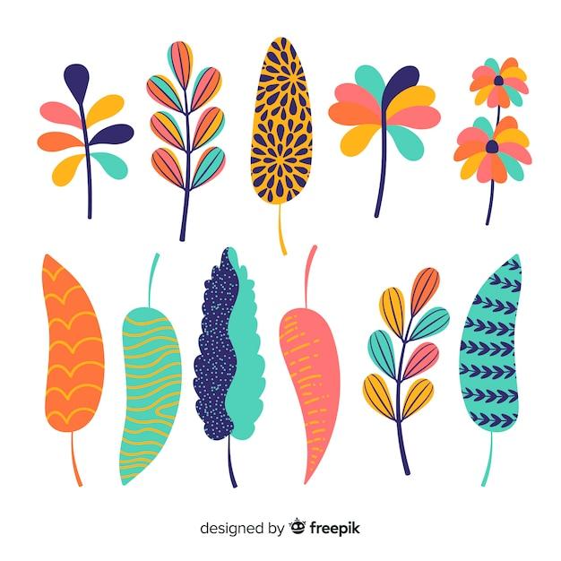 Blumen und blätter collectio Kostenlosen Vektoren