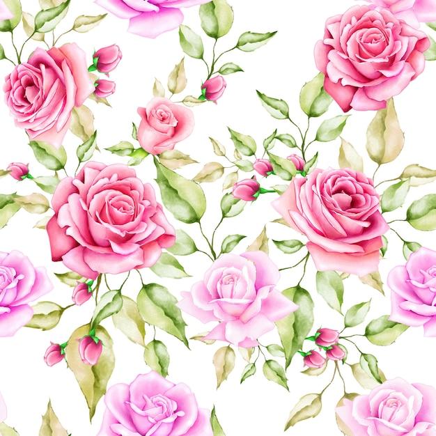 Blumen und blätter nahtlose muster Premium Vektoren