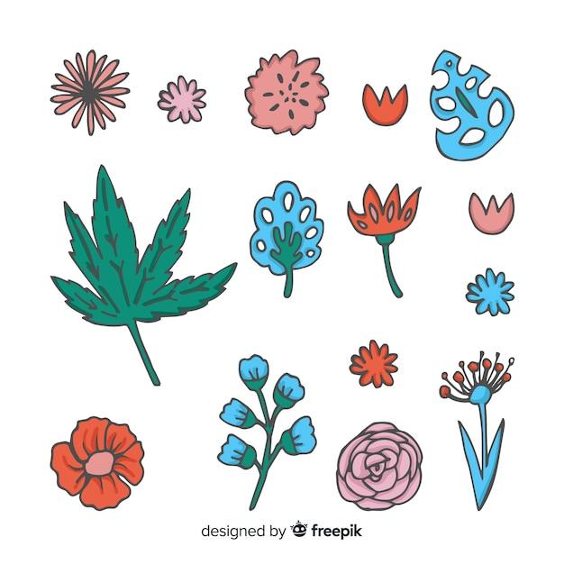 Blumen- und blattsammlung Kostenlosen Vektoren