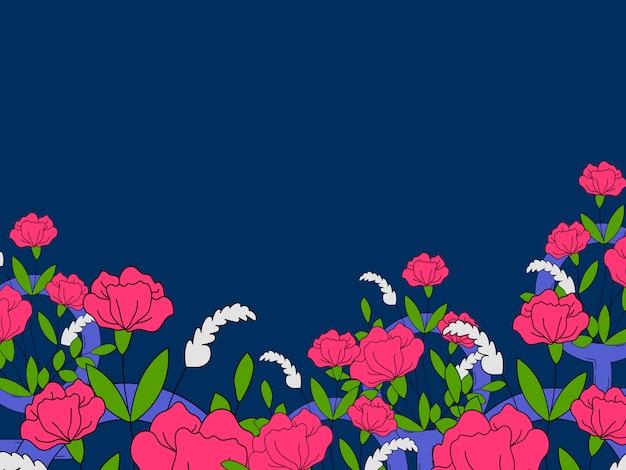 Blumen- und bunter feministischer tapetenvektor Kostenlosen Vektoren