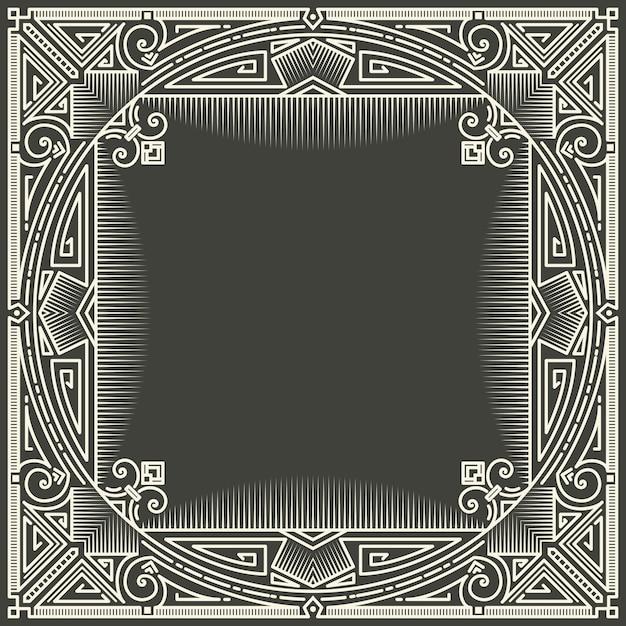 Blumen- und geometrischer monogrammrahmen auf dunkelgrauem hintergrund. monogramm-gestaltungselement. Kostenlosen Vektoren