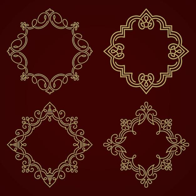 Blumen- und geometrischer monogrammrahmen auf dunkelgrauem hintergrund Kostenlosen Vektoren