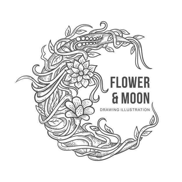 Blumen- und mondzeichnungsillustration Premium Vektoren