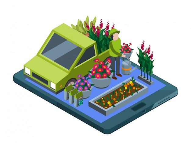 Blumen und pflanzen online. isometrische blumenladen- und pflanzenlieferillustration Premium Vektoren