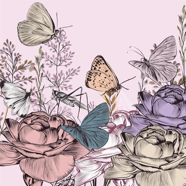 Blumen und schmetterlinge hintergrund Premium Vektoren