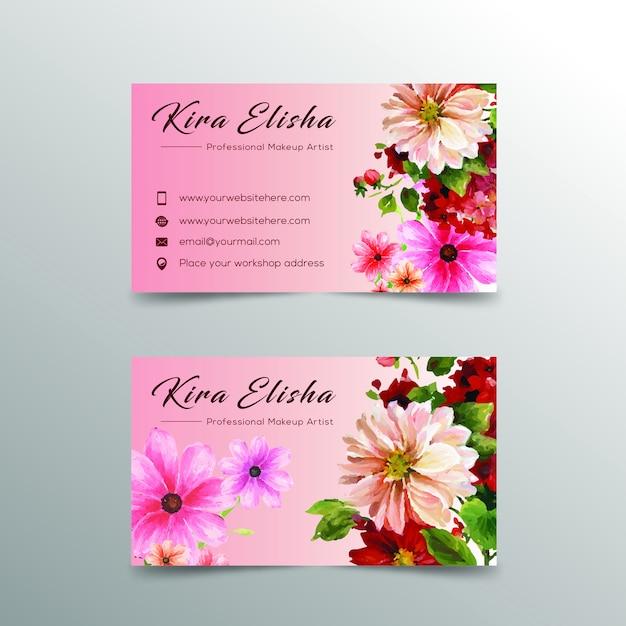 Blumen Visitenkarte Design Premium Vektor