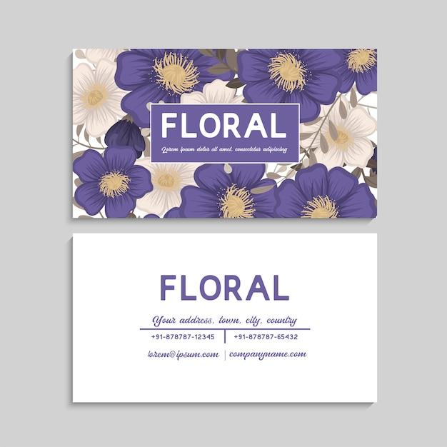 Blumen visitenkarten blau Kostenlosen Vektoren