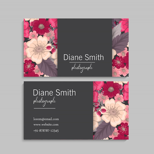 Blumen visitenkarten heiße rosa blumen Kostenlosen Vektoren