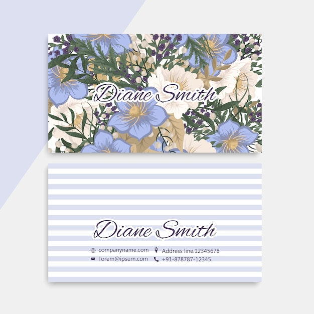 Blumen visitenkarten hellblau Kostenlosen Vektoren