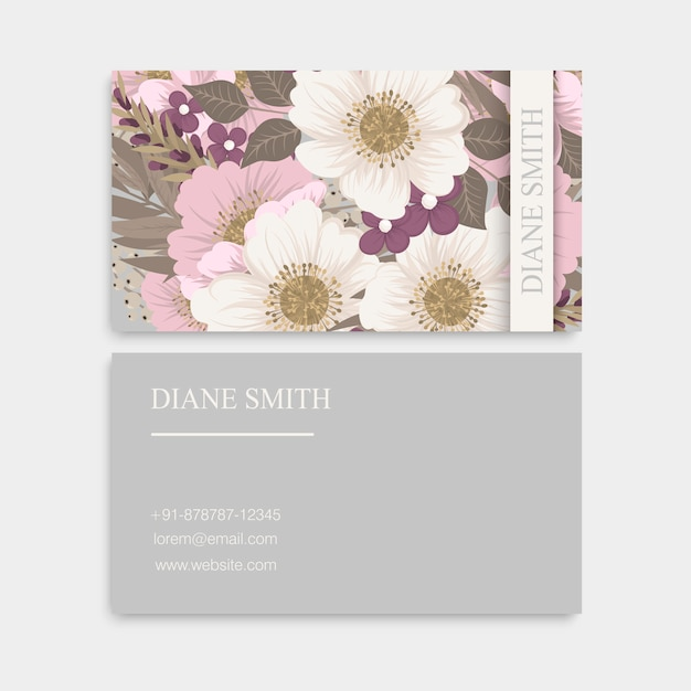 Blumen visitenkarten pastellblumen Premium Vektoren
