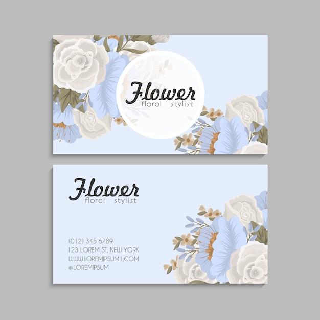 Blumen visitenkarten pastellblumen Kostenlosen Vektoren