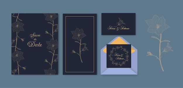 Blumenabwehr das datumskartenset Premium Vektoren