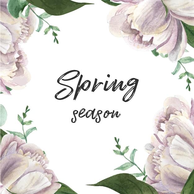 Blumenaquarell der blühenden blume der weißen pfingstrose botanische aquarellhochzeitskarten Kostenlosen Vektoren