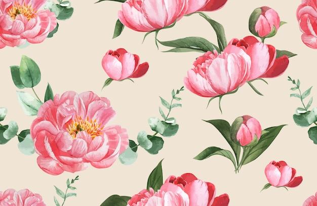Blumenaquarell des botanischen musters, dankeskarte, textildruckillustration Kostenlosen Vektoren