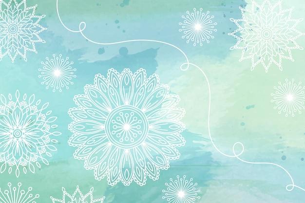 Blumenaquarellhintergrund mit hand gezeichneten elementen Kostenlosen Vektoren