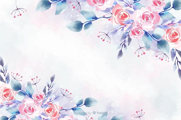 Blumenaquarellhintergrund mit weichen farben Kostenlosen Vektoren