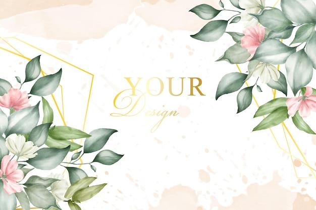 Blumenarrangement mit aquarellhintergrundschablone Premium Vektoren