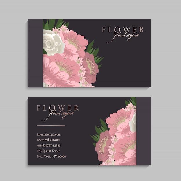 Blumenart visitenkarteschablonenvektor Kostenlosen Vektoren