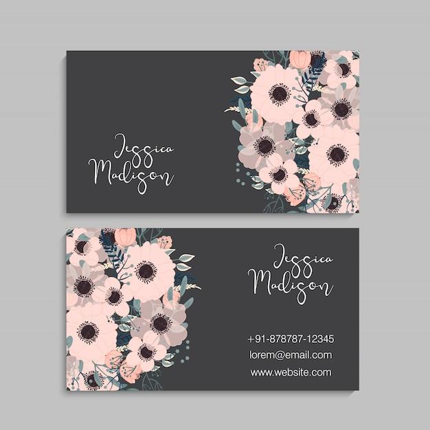 Blumenart visitenkarteschablonenvektor Premium Vektoren