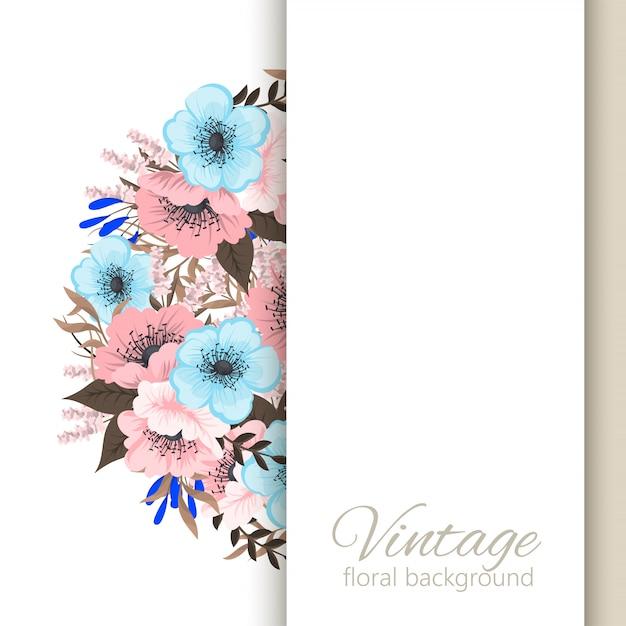 Blumenbilderrahmen hellblaue und rosa blumen Kostenlosen Vektoren