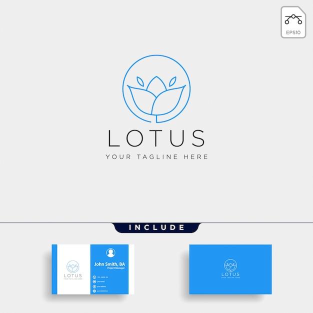 Blumenblumenlinie schönheits-prämien-einfache logoschablone Premium Vektoren