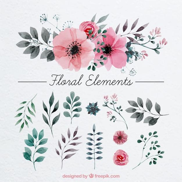 Blumendekoration mit Aquarell gemalt Kostenlose Vektoren