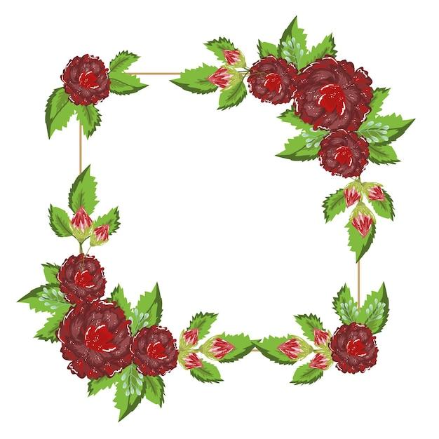 Blumendekoration natur elenganter quadratischer rahmen, illustrationsmalerei Premium Vektoren