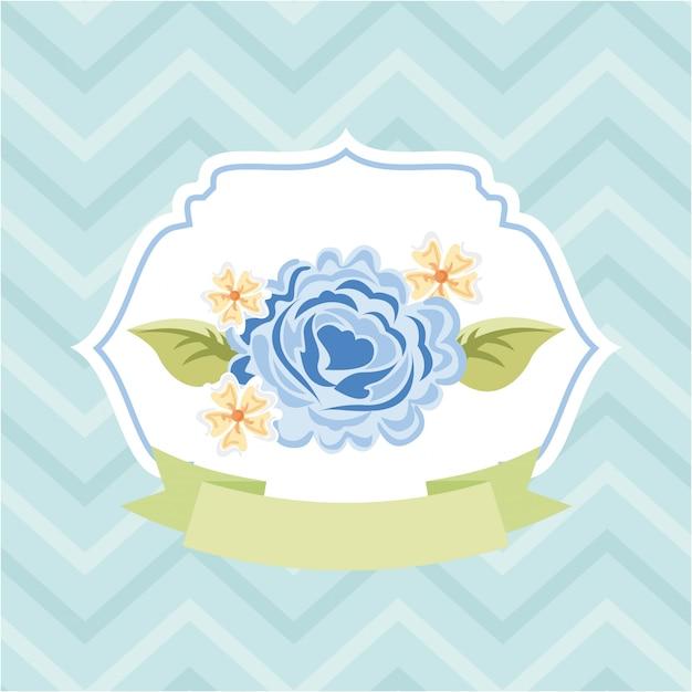 Blumendesign über blauer hintergrundvektorillustration Premium Vektoren