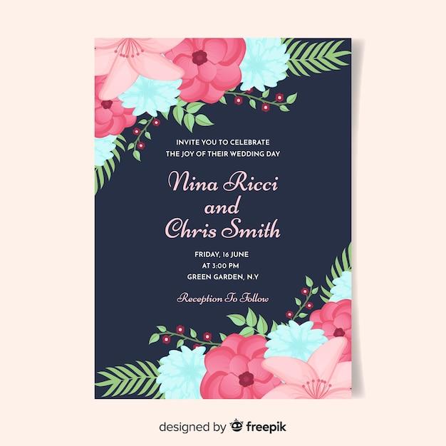 Blumenecken, die einladungsschablone wedding sind Kostenlosen Vektoren