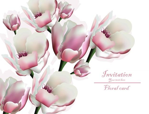 Blumeneinladungskarte der frühlingsblüte Premium Vektoren