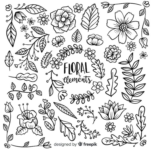 Blumenelement collectio Kostenlosen Vektoren