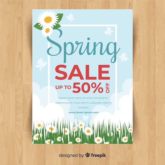 Blumenfeldfrühlings-verkaufsposter Kostenlosen Vektoren