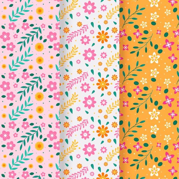 Blumenfrühlingsmusterkollektion Kostenlosen Vektoren