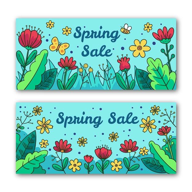 Blumenfrühlingsverkaufsfahnen mit schmetterling und biene Kostenlosen Vektoren
