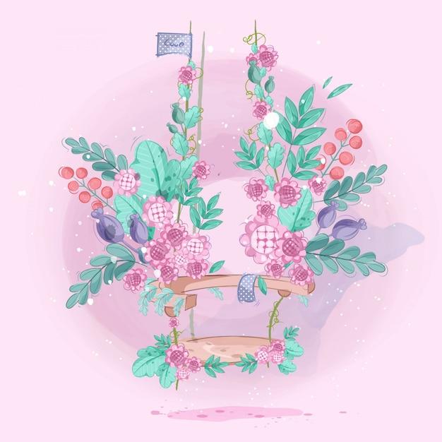 Blumengarten auf niedlichen schaukeln. vektor-illustration Premium Vektoren