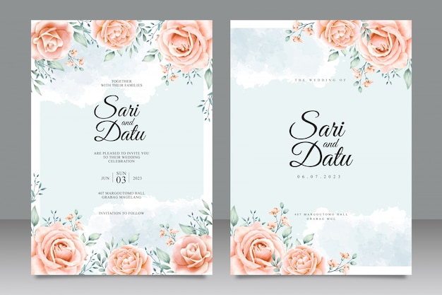 Blumengarten hochzeitseinladungskarte aquarell Premium Vektoren
