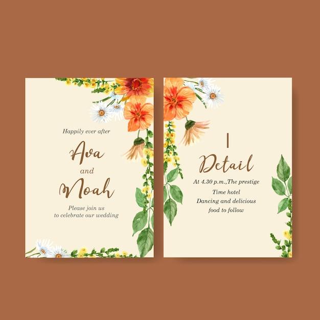Blumengarten-hochzeitskarte mit gänseblümchen, hibiscus, gerberaaquarellillustration. Kostenlosen Vektoren