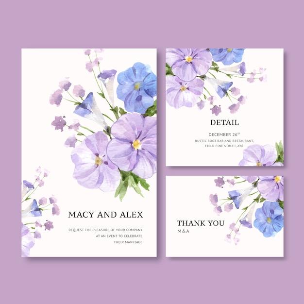 Blumengarten-hochzeitskarte mit vinca-aquarellillustration. Kostenlosen Vektoren
