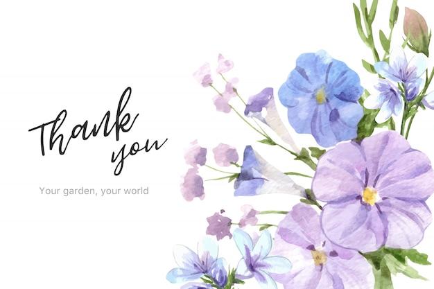 Blumengartenrahmen mit linum aquarellillustration. Kostenlosen Vektoren