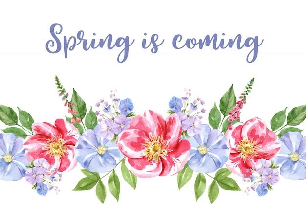 Blumengartenrahmen mit verschiedener blumenaquarellillustration. Kostenlosen Vektoren