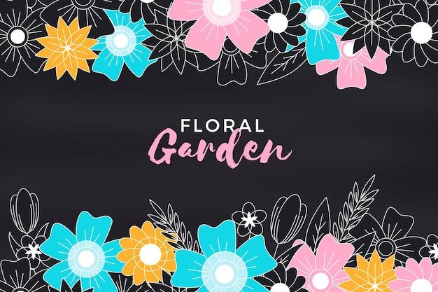 Blumengartentafelhintergrund mit blumen Kostenlosen Vektoren