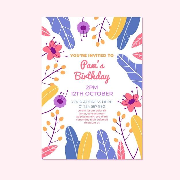Blumengeburtstagseinladung Kostenlosen Vektoren