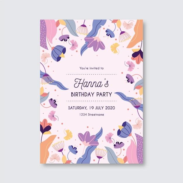 Blumengeburtstagseinladungsschablone Premium Vektoren
